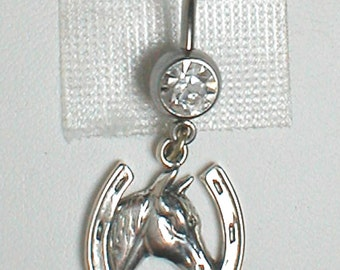 Unique Belly Ring - Sterling SIlver Horse in Horseshoe