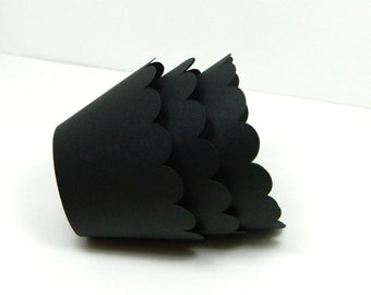 Black Cupcake Wrapper Set of 12