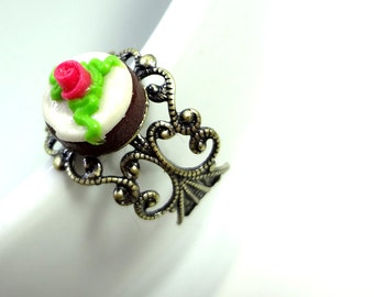 Cute Rose Topped Miniature Cake Ring - Miniature Food Jewelry - Clearance Sale