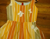 Striped Butterfly Vintage Inspired Tan and Grey Dress - Women's Sustainable Sundress Size Large