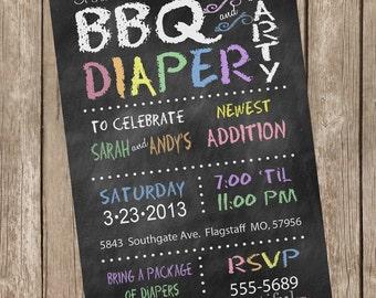 Pastel BBQ chalkboard baby shower invitation, chalkboard, pastel, printable invitation