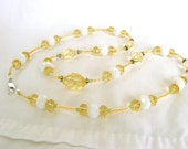 Lemon Crystal Necklace with Milky Glass, Yellow and White Necklace with Touches of Green, Yellow Crystal Necklace