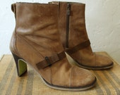 Tan Leather Ankle Boots by Diesel - Size US 9