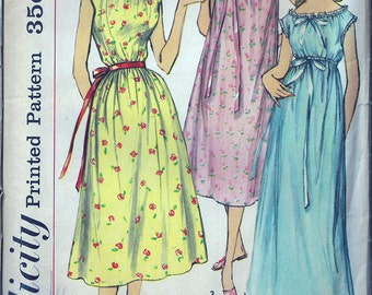 Retro Lingerie Nightgown- Simplicity Pattern- Junior 13- Bust 33