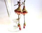 Flower earrings in Coral Orange Bronze, petunia beads earrings, trumpet earrings, NKFree leverback, artisan jewelry,  polymer clay flower