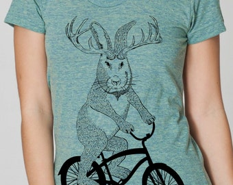 womens jackalope on a bike- American Apparel tri blend lemon- available in S,M, L, XL- Worldwide Shipping