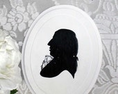 PRICE REDUCED!  Vintage Hand Painted Signed Silhouette of Composer Franz Joseph Hayden - One of 2 Remaining - Perfect Gift For Music Lover