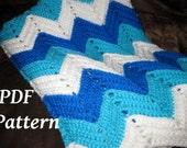 PATTERN ONLY (PDF), Crochet Ocean Waves Baby Blanket