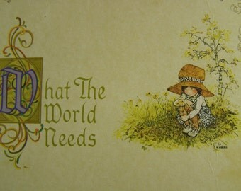 50% off clearance sale !vintage Holly Hobbie wooden plaque, what the world needs