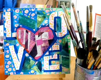 Love 8 x 8 original mixed media for Her, heart painting, original painting, acrylic painting, mixed media painting,  heart, love