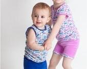 Summer PJs: Childrens Pajamas Pattern, Baby & Toddler Pajamas Pattern, Tank Top, Tee, Shorts Pattern