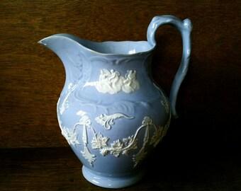 Antique English Lavender Pitcher Jug Water Damaged circa 1900's / English Shop