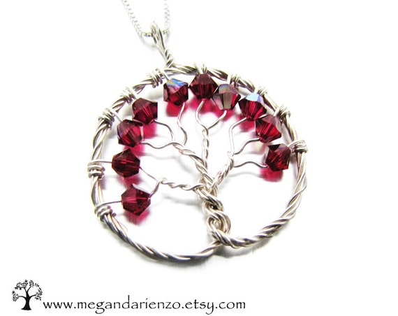 Ruby Red Tree of Life JULY Birthstone Celebration Necklace- Swarovski Crystal and Argentium Sterling Silver, Ready To Ship