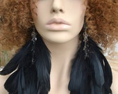 Long Black Feather Earrings with Crystal Beads