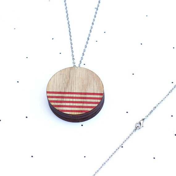Wooden Photo Locket - Lines - SALE