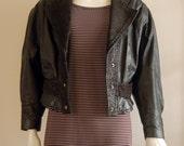 80s Vintage Black Leather Moto Jacket