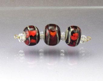 Handmade lampwork glass bead set Red lampwork beads Red glass beads Made to order Stripes Sea Rocks Anne Londez  SRA OOAK