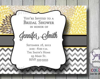 Yellow & Gray Chevron Bridal Shower Invitation