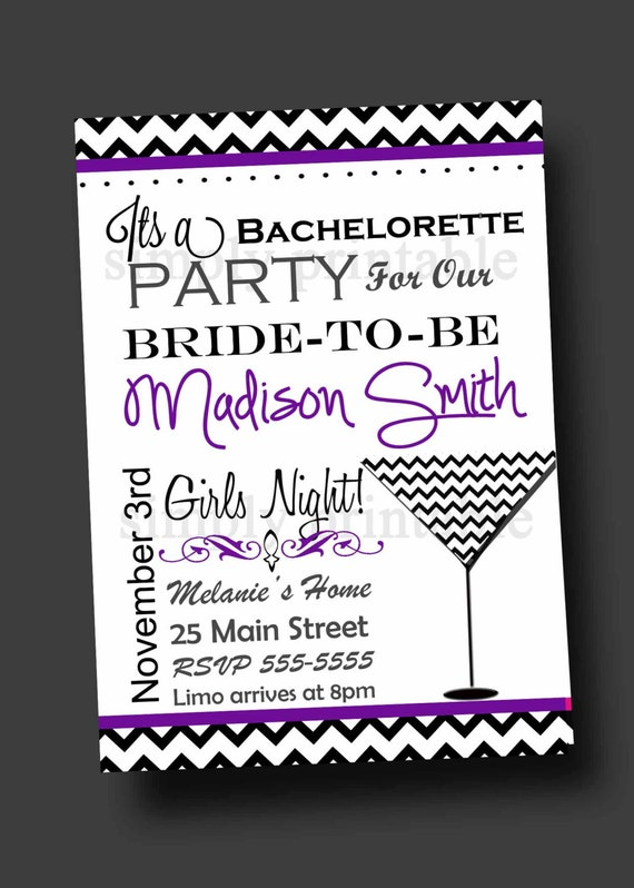 Bachelorette Party Invitation Chevron (Printable Digital)