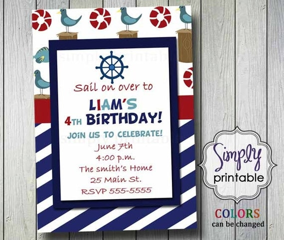 Sailor Birthday Invitation Printable