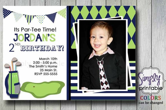 Golf Birthday Party Invitation (Printable File)