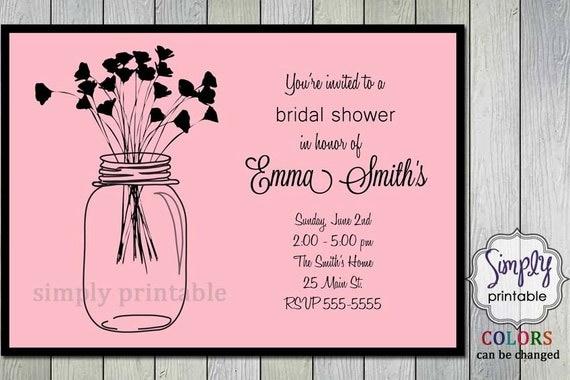 Purple Bridal Shower Invitation with Vintage Flowers & Mason Jars