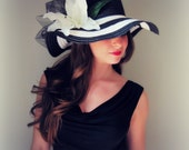 Pretty Derby Girl - White and Black Stripe Floppy Hat with flower - Kentucky Derby Garden Party or Weddings wide brim straw hat beach