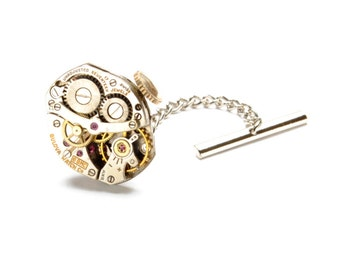 BULOVA Steampunk Tie Tack, MENS Tie Tack, Watch Tie Tack, INDUSTRIAL Tie Tack Pin Wedding Groom Steampunk Jewelry by Victorian Curiosities