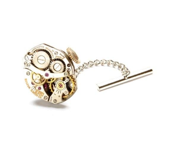 BULOVA Steampunk Tie Tack, MENS Tie Tack, Watch Tie Tack, INDUSTRIAL Tie Tack Pin Wedding Groom Steampunk Jewelry by Victorian Curiosities