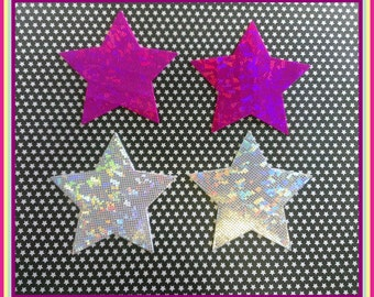Big Hot Pink or Silver Holography Star Pastieez