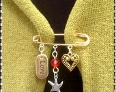 Kilt Pin -Brooch -Gold Pin & 3 Charms  ( Heart- Love- Star )  red, Crystal, fashion, unique, , Valentine's Day, mom, sister, friend,teen