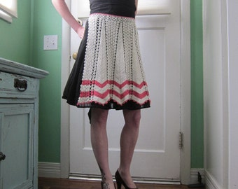 Sweet Half Apron, Crocheted with Pink Chevron Stripes