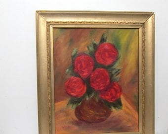 Roses Framed in Gold, Vintage Oil Painting