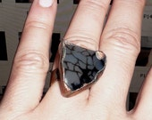 Copper ring, dragon veins agate, black and white, patinated, oxidised,rusticc ring, boho ring, agate ring