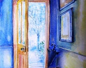 Georgian Doorway Ireland Winter -    -watercolour fine art print -