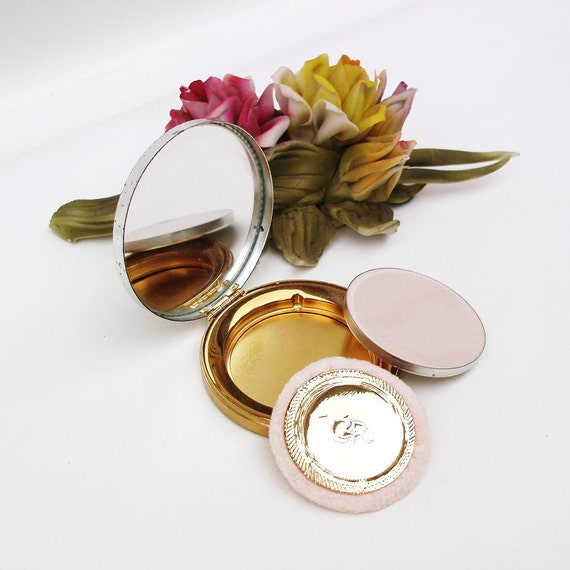 Vintage Powder Compact, Charles of the Ritz , Mirror Compact Case, Gold / Silver, Glamour Girl / Refillable