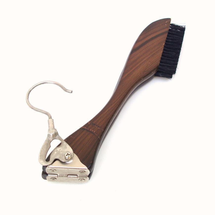 Wooden Coat Hanger Lint Brush Vintage Folding Travel Hanger