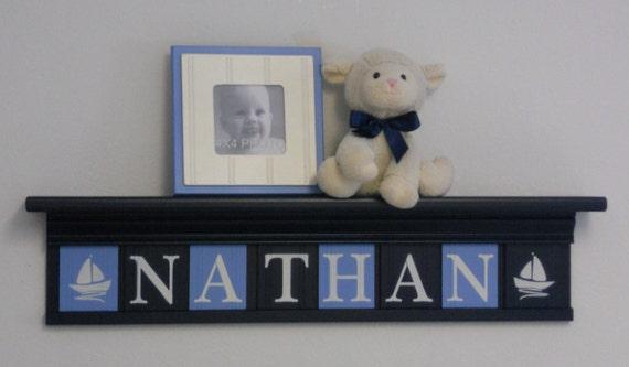 Navy Blue Wall Decor Nursery : Nautical navy nursery wall decor custom name blue