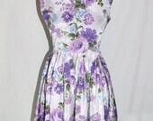 Vintage 50s 1950s Sun Dress PURPLE ROSES Sundress