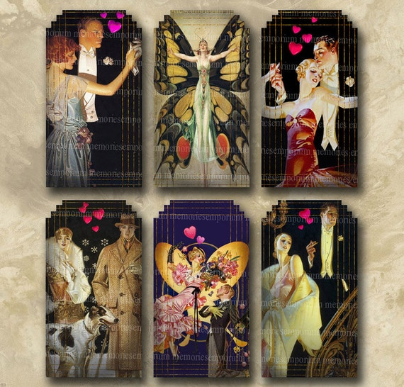 Art Deco Valentine Lovers Decoupage Hang Gift Tags dyi Romance Couples Digital Collage Sheet Instant Download 062