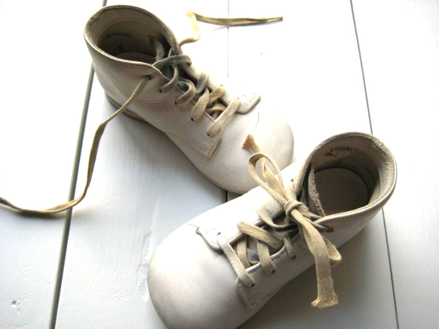 Vintage 1950 s Infant Shoes High Top Walking Shoes by