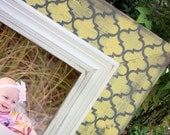 Moroccan Tile Distressed Picture Frame, Yellow Ochre / Dark Gray / Linen