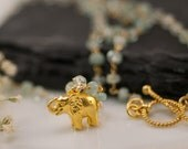 Aquamarine Necklace - March Birthstone Necklace -  Elephant Charm - Gold Necklace - Toggle Clasp