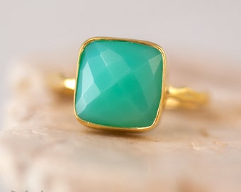 Chrysoprase Ring - Sea foam Green Ring - Gemstone Ring - Stacking Ring - Gold Plated - Cushion Cut Ring