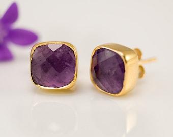 Purple Amethyst Stud Earrings - February Birthstone Studs - Gemstone Studs - Cushion Cut Studs - Gold Stud Earrings - Post Earrings