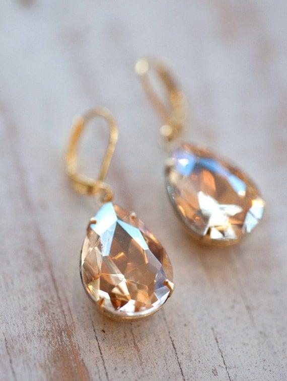 bridal earrings champagne earrings gold earrings by notonesparrow. Black Bedroom Furniture Sets. Home Design Ideas