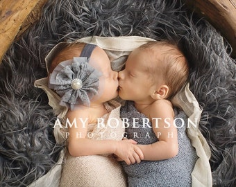 Baby Headband- Grey Flower Headband- Newborn Headband- Baby Flower Headband- Infant Headband