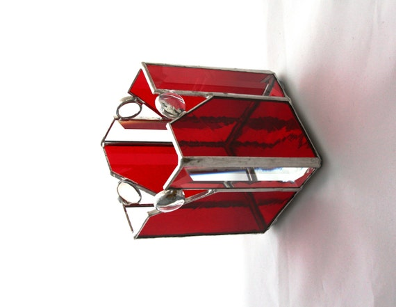valentine red stained glass candle holder box with clear. Black Bedroom Furniture Sets. Home Design Ideas