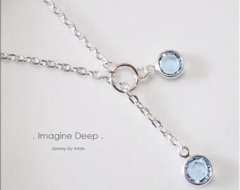 30%off SPECIAL Sky Blue Lariat Necklace Y Necklace Silver Plated Soft Baby Sky Swiss Blue Topaz like Swarovski Crystal Necklace