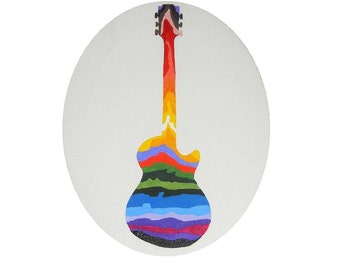 Guitar Silhouette with Rainbow Oval Mounted Canvas